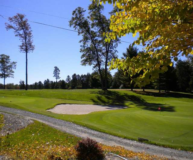 A view of tee #1 and practice greens at White Pine National Golf Club
