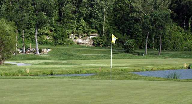 A view of green with water coming into play at Crystal Springs Quarry Golf Club