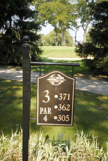 A view of the 3rd tee sign at Port Huron Golf Club