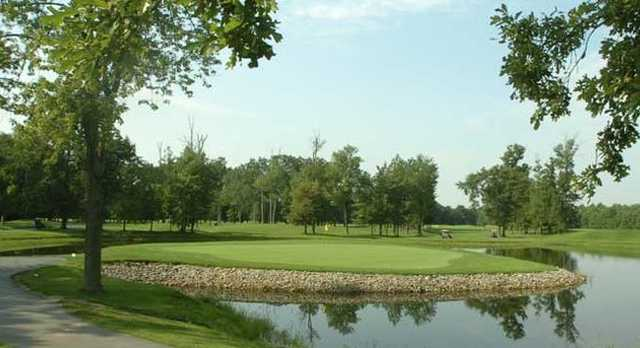 A view of the island green at Dragon Ranch Golf Club