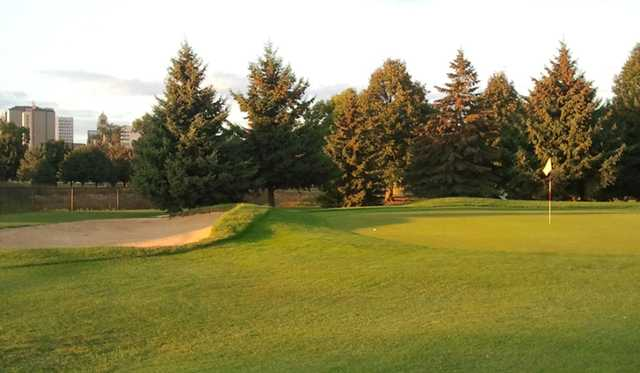 A view of green with bunker on the left at Soldiers Memorial Field Golf Course