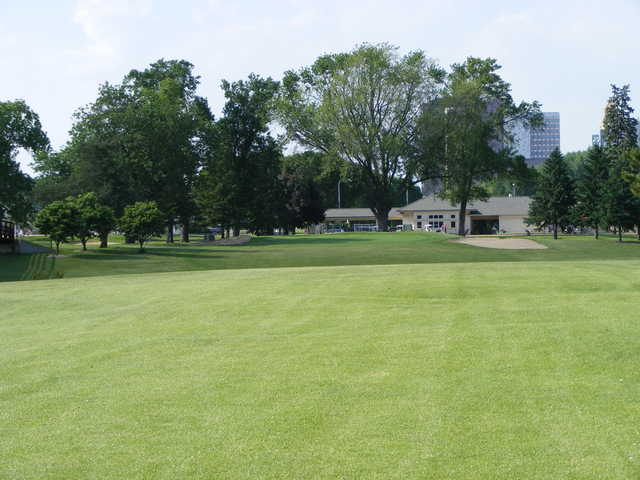 A view from fairway of the clubhouse at Soldiers Memorial Field Golf Course
