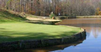 A view of a green with water coming into play at Silo Run Golf Course