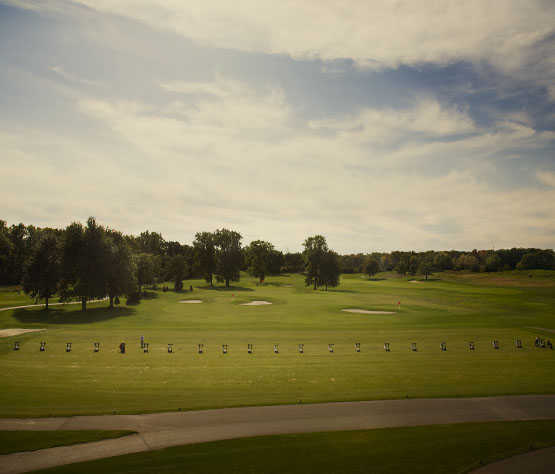 A view of the driving range at Fieldstone Golf Club of Auburn Hills