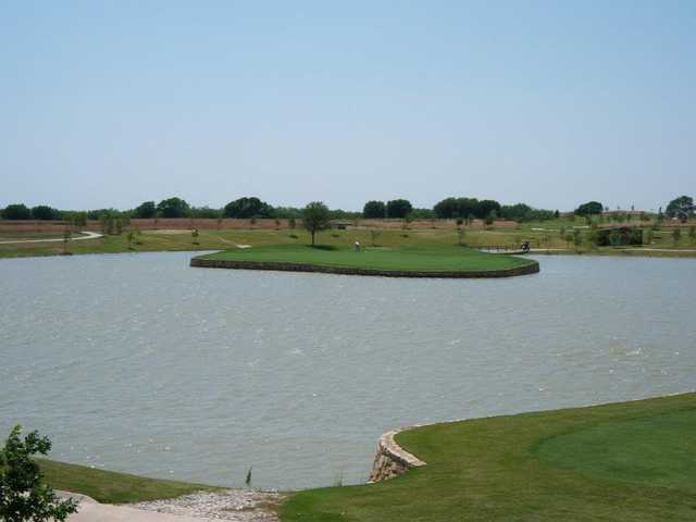 A view of green #17 at Frisco Lakes Golf Club