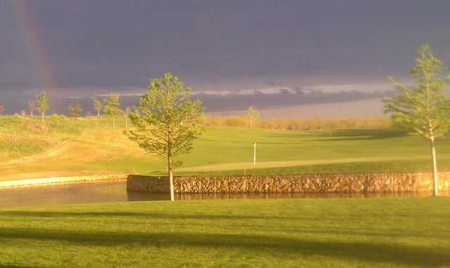 A view of the 8th green from Frisco Lakes Golf Club