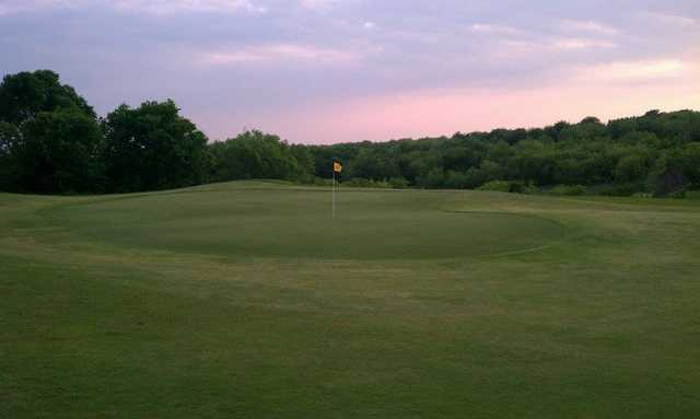 A view of a green from the Frisco Lakes Golf Club