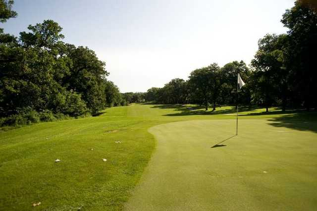 A view of green #13 at Bay Hills Golf Course