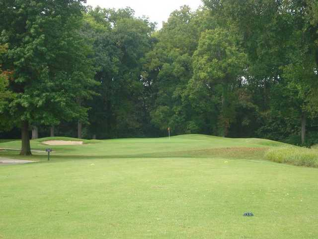 A view of the 8th green at River Course from Heart of America Golf Academy
