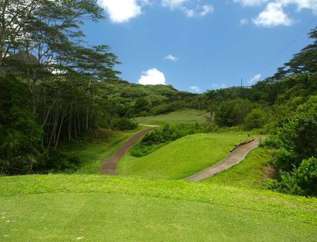 The 15th at Royal Hawaiian is a dogleg left par 4 and probably one of the tamer holes on the golf course.