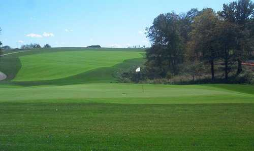 A view of a green at Staley Farms Golf Club