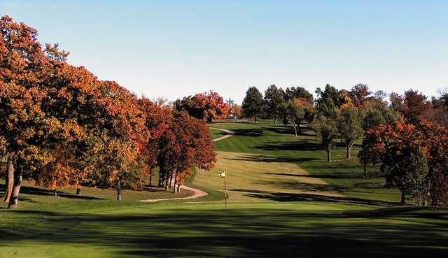 A fall view of green at Swope Memorial Golf Course