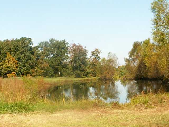 A view of the 16th green and pond at Meramec Lakes Golf Course