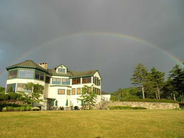 A view of rainbow over the clubhouse at Lake Winnipesaukee Golf Club