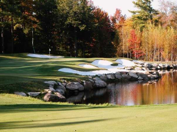 A view of hole #12 protected by bunkers at Lake Winnipesaukee Golf Club
