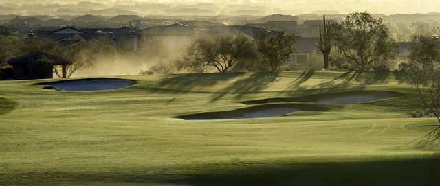 A morning view of the 16th hole at Founder's Course from Verrado Golf Club.