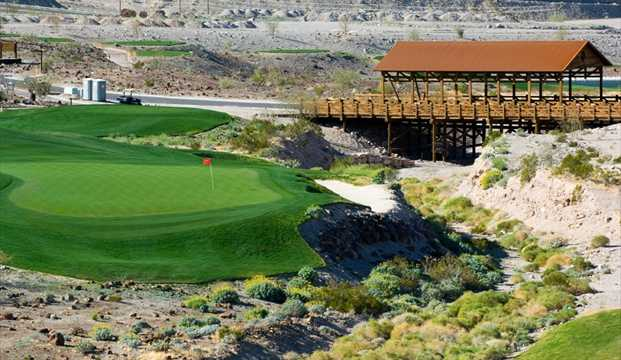 A view of green #7 at Laughlin Ranch Golf Club