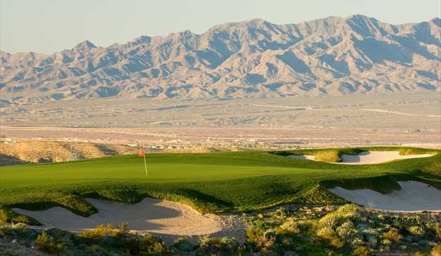 A view of hole #16 protected by bunkers at Laughlin Ranch Golf Club