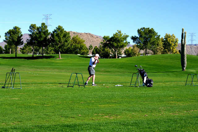 A view of the driving range tees at Viewpoint Golf Resort