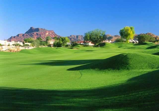 A view of the 7th green at Red Mountain Ranch Country Club