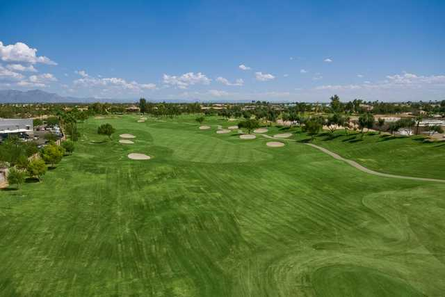 A view of the 8th fairway at Superstition Springs Golf Club
