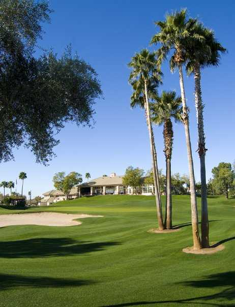 A view of the clubhouse at Superstition Springs Golf Club