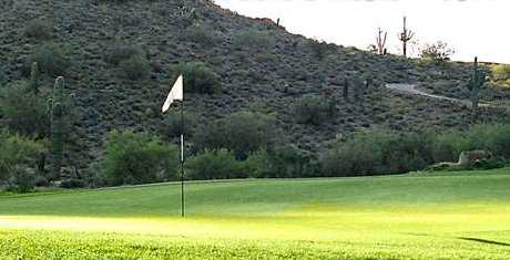 A sunny view of green at Johnson Ranch Golf Club