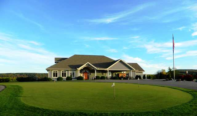 A view of the clubhouse and putting green at Baraboo Country Club