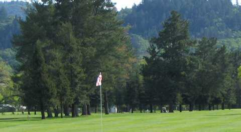 A view of a green at Mount Saint Helena Golf Course