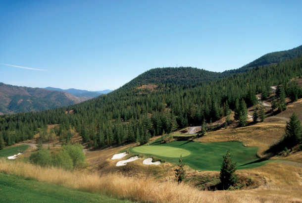A view of the 2nd green with bunker on the left at Galena Ridge from Silver Mountain Resort