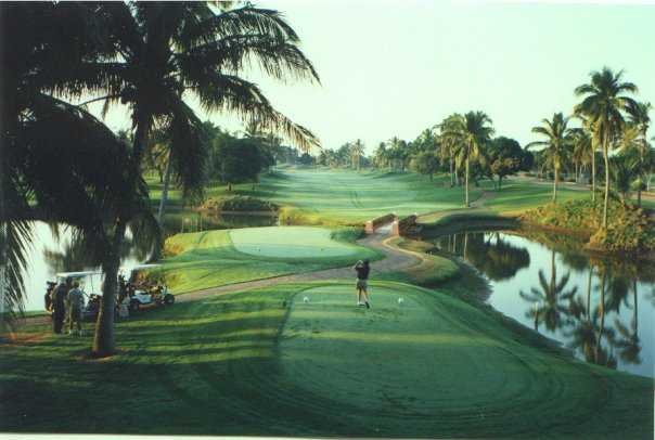A view from a tee with water on the right side at Isla Navidad Country Club