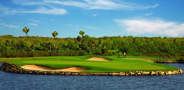A view of the signature hole of Lakes Course from Moon Spa & Golf Club
