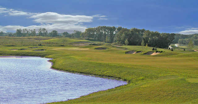 A view from a tee with water on the left at Bowes Creek Country Club.
