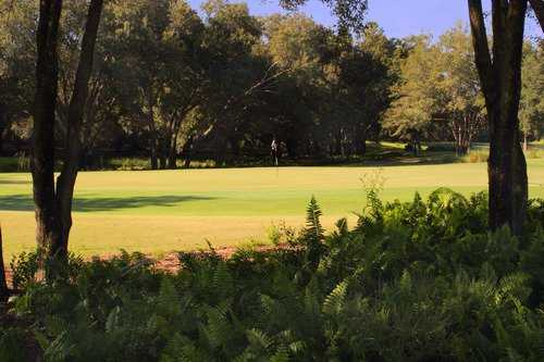 A sunny view of a green at Arlington Ridge Golf Club