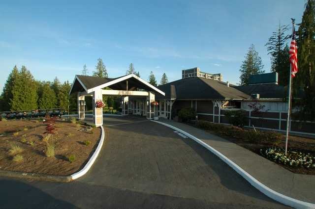 A view of the clubhouse entrance at Gleneagle Golf Course.