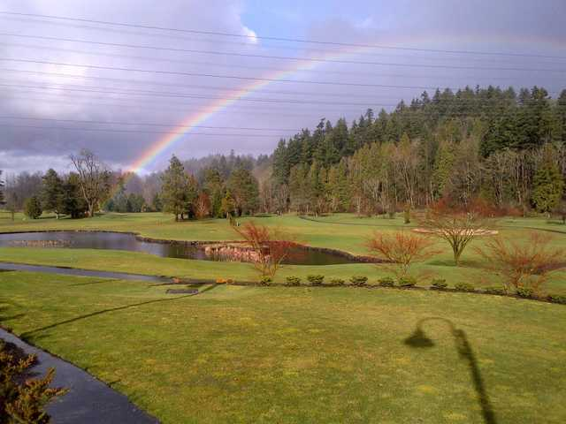 A view of rainbow over Auburn Golf Course