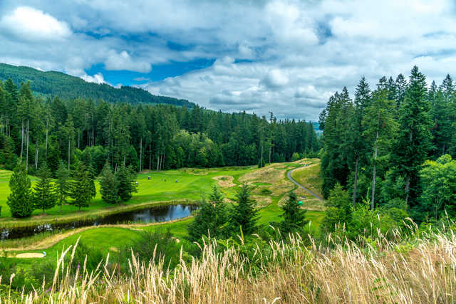 A balcony view of green #18 at Olympic from Gold Mountain Golf Course