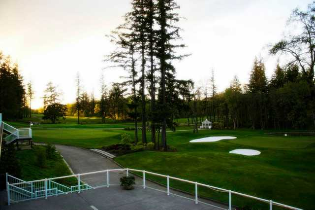 A view of the practice putting green from the clubhouse terrace at Camas Meadows Golf Club