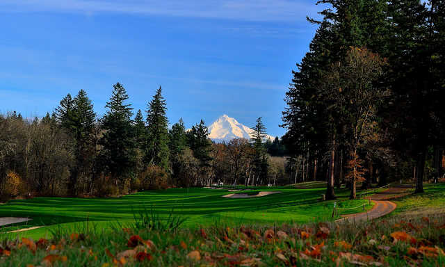 A fall view with mountains covered with snow in background from Camas Meadows Golf Club
