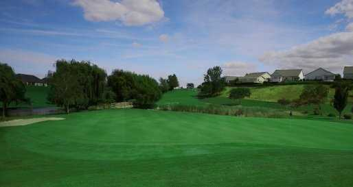 A view of hole #12 famous for being the largest green in the Pacific Northwest, at Canyon Lakes Golf Course