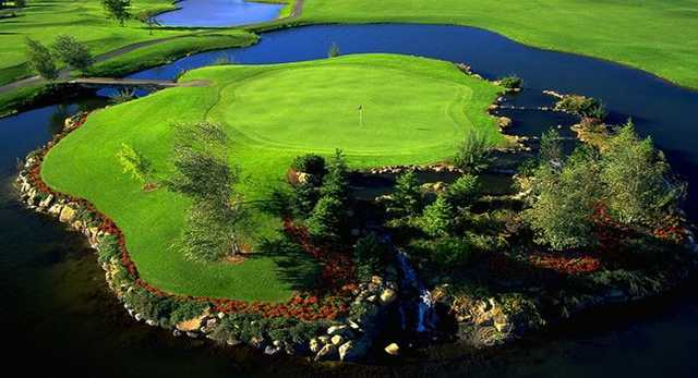 A view of the island green at Homestead Farms Golf Club
