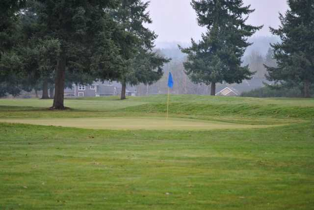 A view of the 18th green at Tahoma Valley Golf & Country Club