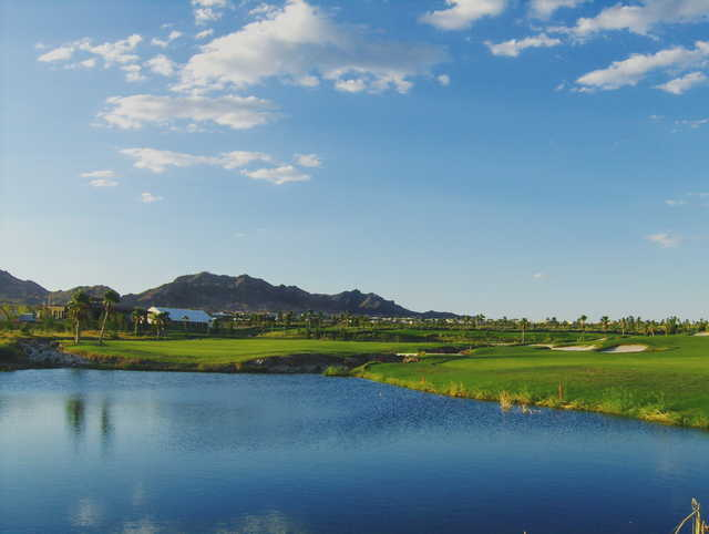 View of the lake and clubhouse at Boulder City Golf Course