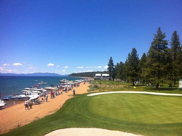 A view of the 17th green at Edgewood Tahoe Golf Course