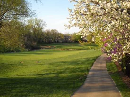 A spring view of hole #3 from cart path at Deer Creek Golf Club