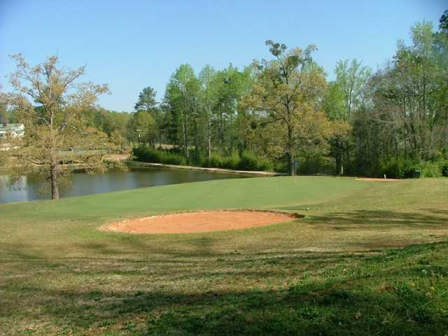 A view of the 16th hole with water coming into play at Lake Jonesco Golf Course