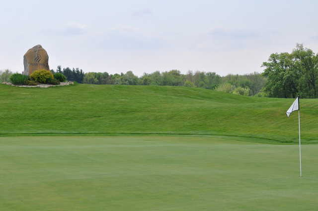 A view of a green at Mystic Hills Golf Club