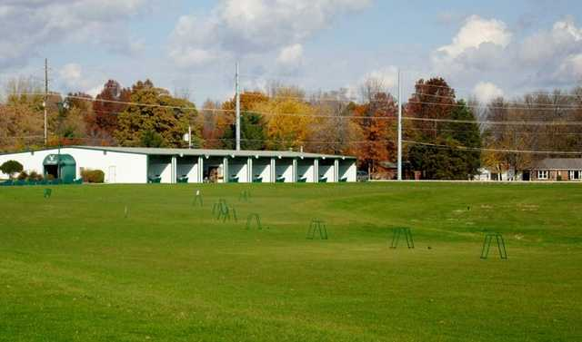 A view of the driving range at Gray Eagle Golf Club