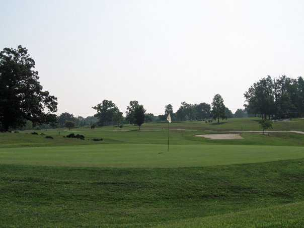 A view of the 18th hole at Forest Park Golf Course
