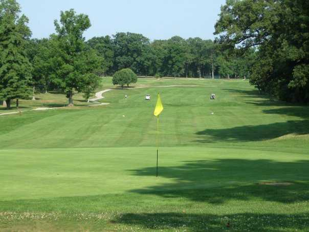 A view of green #9 at Forest Park Golf Course